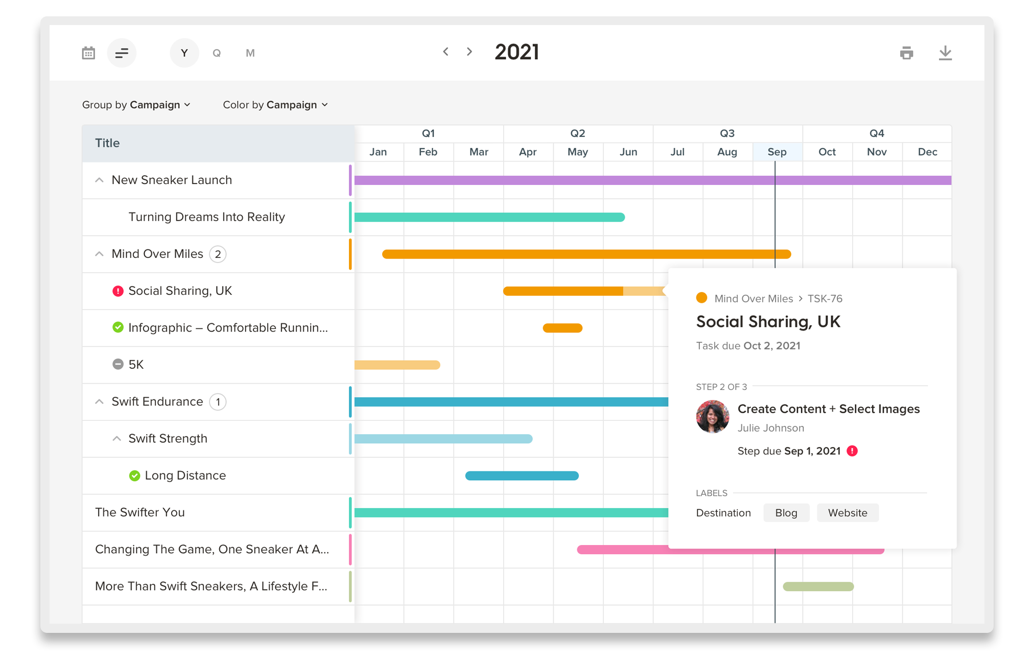 Welcome Tasks Timeline view
