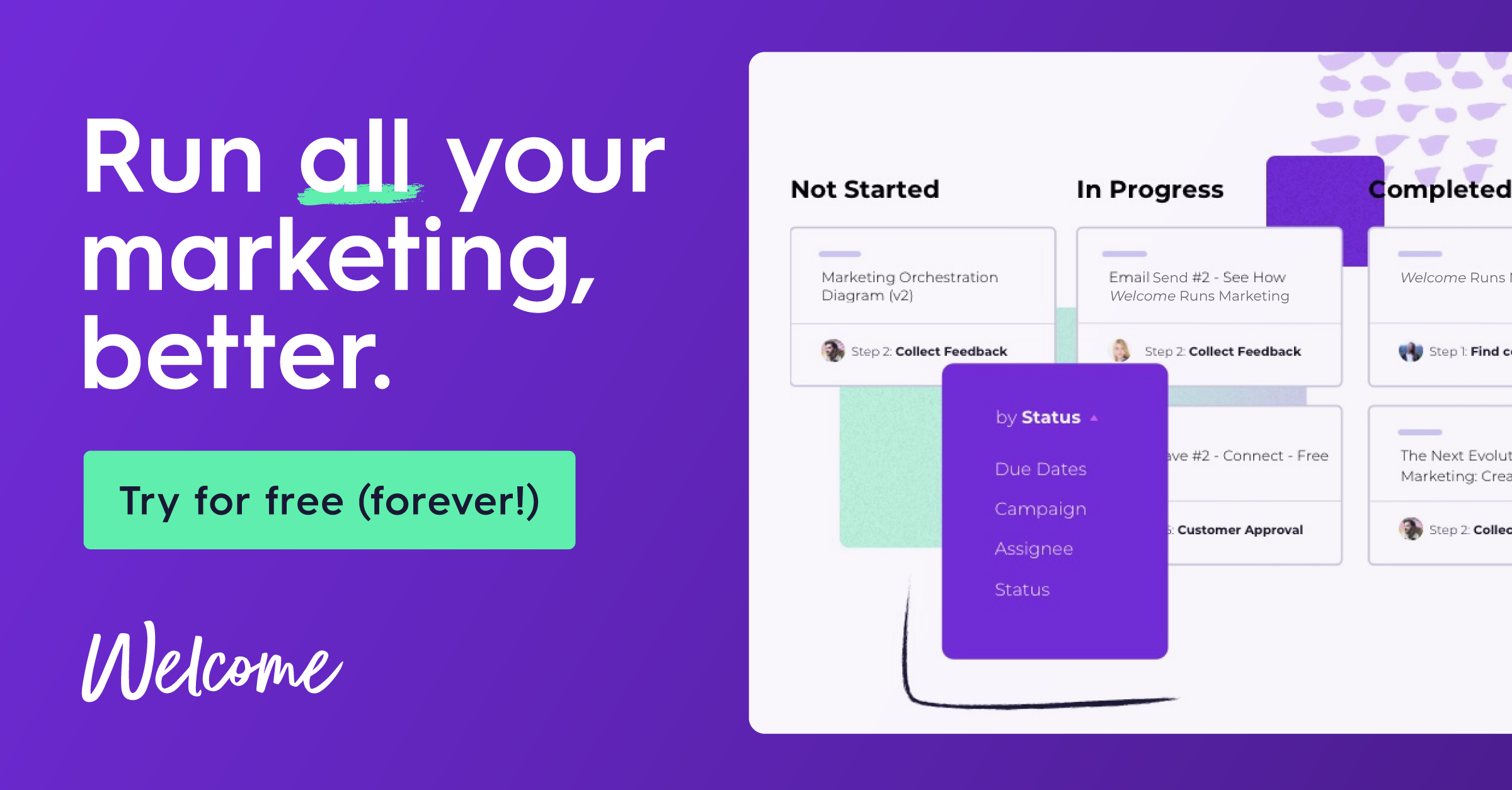 Try Welcome for free - forever