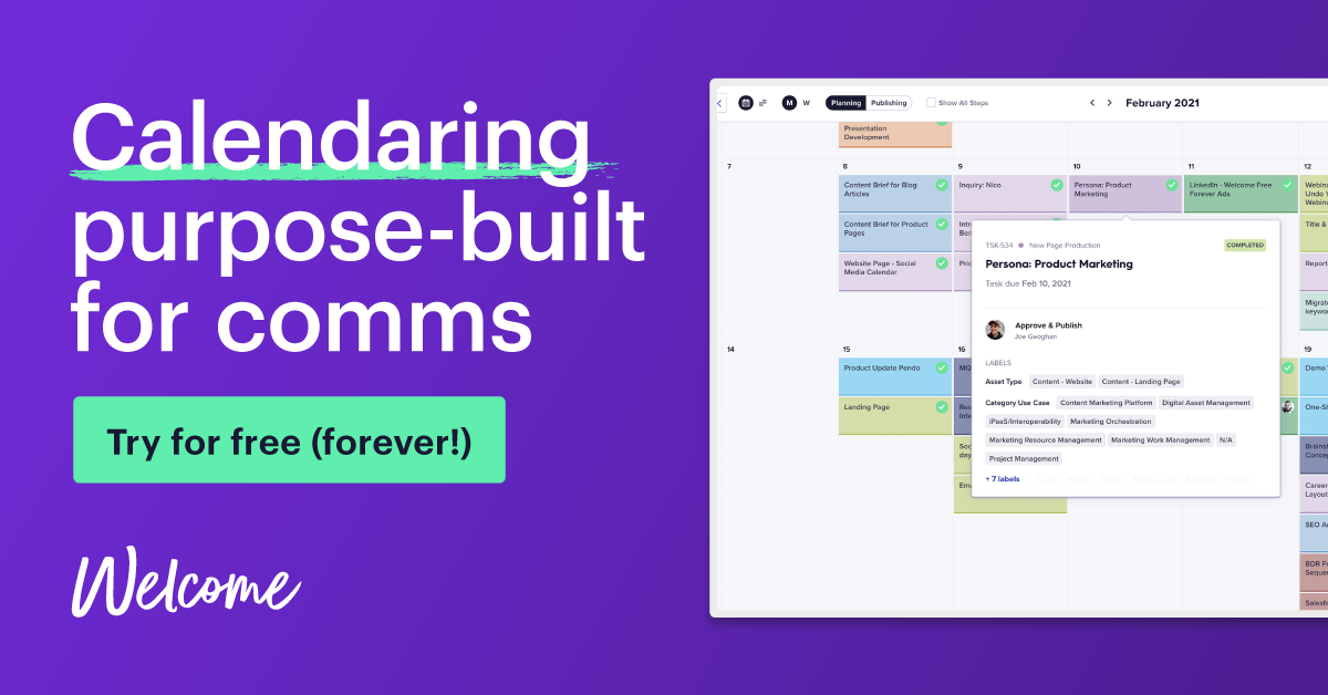 Try Welcome for calendaring free - forever