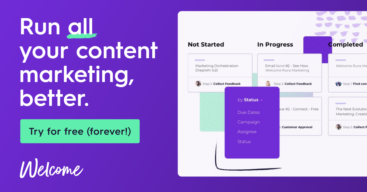 Try Welcome for content marketing free - forever